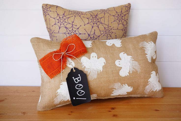Burlap Halloween Pillows, Ghosts, Spiders, Halloween Decor, Chalkboard Tag, Halloween Holiday Decorative Throw Pillows, Holiday Cushions by ComfortsofHomeDecor on Etsy https://www.etsy.com/listing/201439925/burlap-halloween-pillows-ghosts-spiders