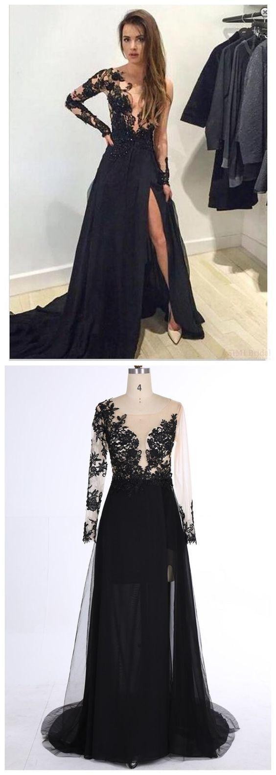 Elegant Black Lace Appliques Prom Dress,One Shoulder Evening Dress,A Line Prom Dress,V Neckline Prom Dress,