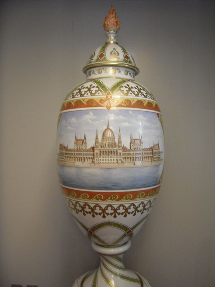 Herend porcelain vase showing the Parliament building, Budapest, Hungary