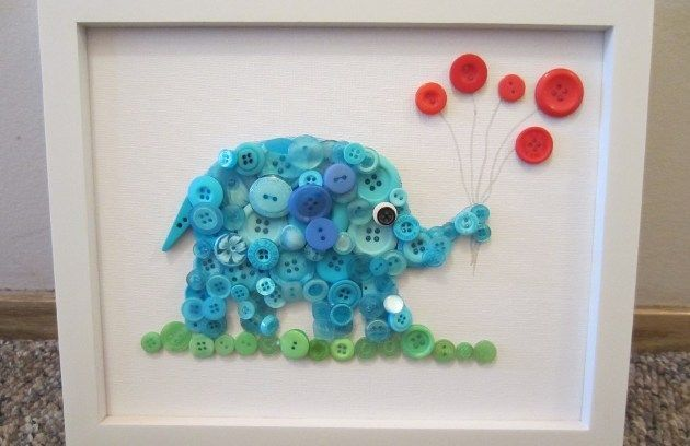 How to make button elephant pictures (and ideas of different designs) :-)
