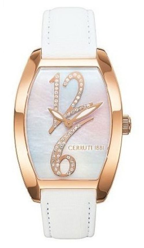Cerruti Quartz Mother of Pearl Dial White Leather Watch# CT67232X1IR022 (Women…