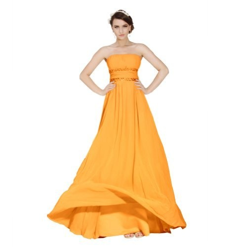 Orange Sunvary Elegant Strapless Neckline A-line Chiffon Long Evening Dresses Bridesmaid Dresses  Orange Dress #2dayslook #watsonlucy723  #OrangeDress  www.2dayslook.com