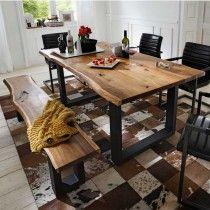 Baumkanten Tisch Cosimo aus Akazie mit Bank (2-teilig)