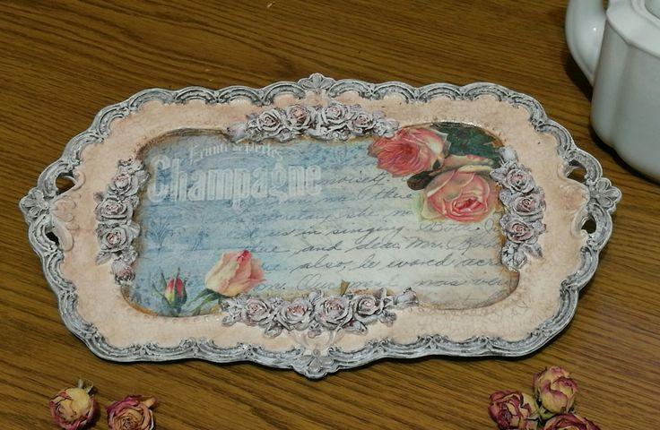 Rózsák minden mennyiségben, újabb decoupage technikával elkészített gyönyörűség / decoupage, romantic, roses, tray