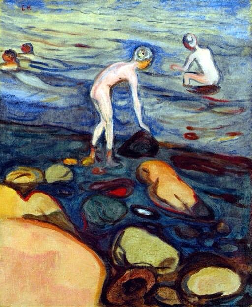The way I see this painting by Edvard munch make me thank of a blind search for an unknown missing thing. I  these things look like there searching for something. They feel like there missing something but I don't know and it seem like they don't know ether. Made by Edvard munch