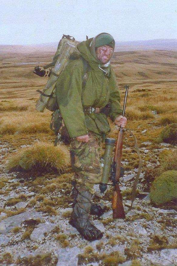 A Royal Marine marksman during the Falkland Islands War.