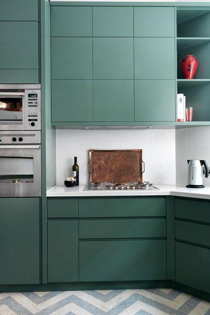 Mooie vlakverdeling van kastjes......Chevron Zigzag Kitchen Flooring - Floors Ideas, Tiles  Pictures (houseandgarden.co.uk)