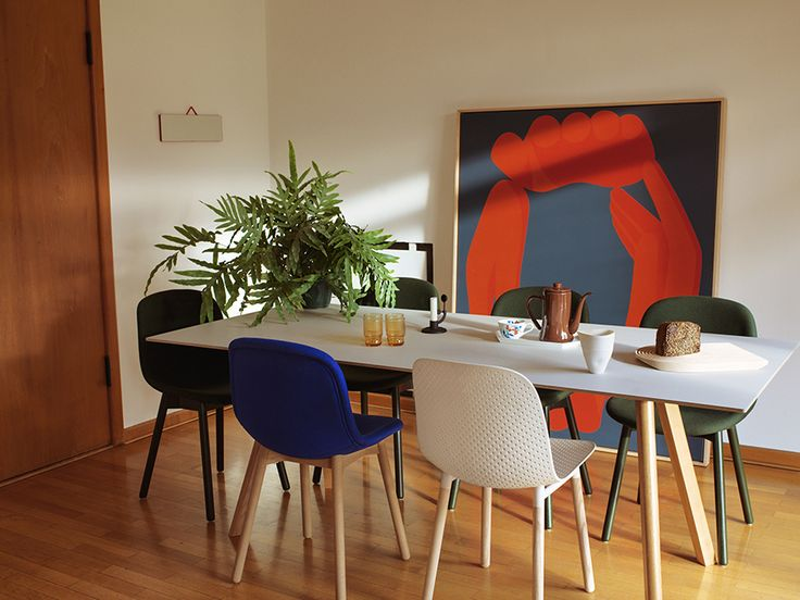 Neu Upholstery chair, 13Eighty chair,  CPH 30 table and Moment candlestick.