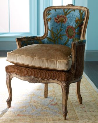 """""""Darra"""" Teal Chair by Old Hickory Tannery at Horchow.Chairs Sofas, Ideas, Darra Teal, Hickory Tannery, French Berger Velvet Chairs, Fabrics, Teal Chairs, Furniture, Traditional Chairs"""