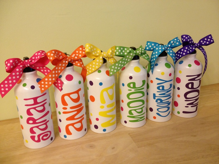 Quantity 6 Personalized aluminum water bottle LOTS of COLORS available - Rainbow party, polka dot, bridal, bachelorette, birthday. $60.00, via Etsy.