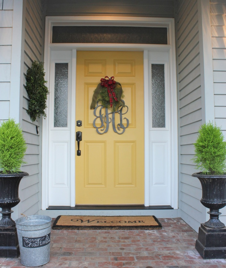 Yellow door with grey and white exterior forever cottage for Front door yellow paint