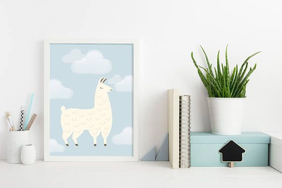 Cartoon Llama Nursery Wall Décor Childrens Cartoon Llama Wall