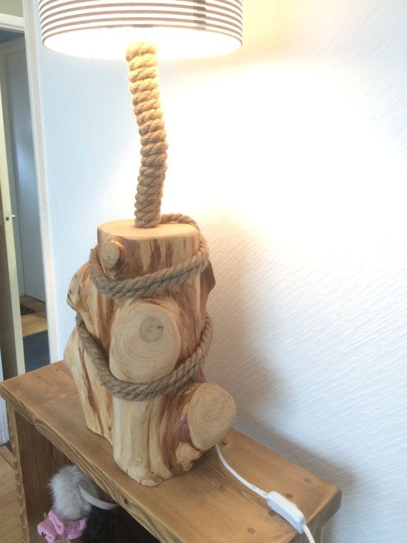 Large Driftwood table lamp rope lamp 67 cms от Tomorrowstide