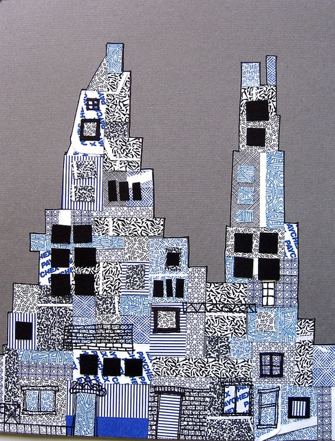 Security Envelope City, by Laura Wennstrom - 8 x 10 inches, security envelopes and paper