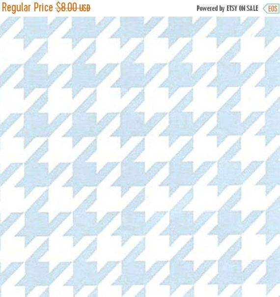 ON SALE - 10% Off Fabric Finders Houndstooth Light Pale Blue White Clothing Quilting Applique Fabric By The Yard