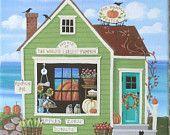 Le champ de citrouilles marché Folk Art Print