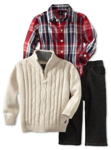 Amazon.com: Nautica Sportswear Kids Baby-Boys Infant 3 Piece 1/4 Zip Long Sleeve Woven Shirt And Denim Pant Sweater Set: Clothing