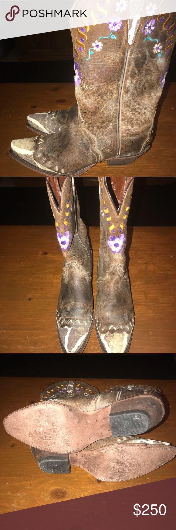 Size 10 Dan post boots! Worn 1 time super cute Dan post size 10 flower boots! Super cute western style! Dan Post Shoes Heeled Boots