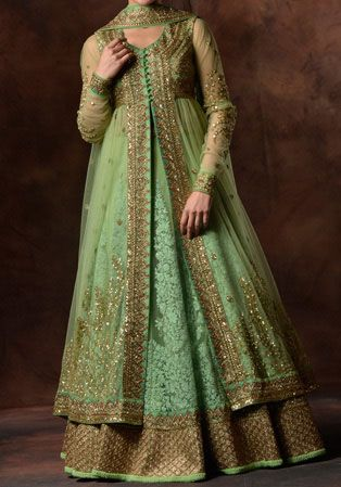 Beautiful Double Open Shirt Long Tail Gown Frock Suits And