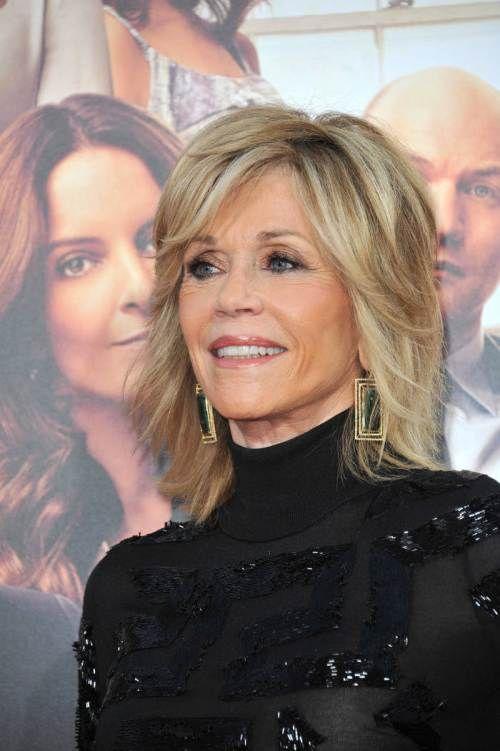 Jane Fonda layered hairstyle #haircutsforwomenover60