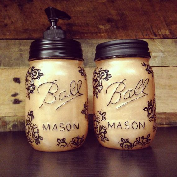 Copper Mason Jar Soap Dispenser Storage Jar Set With Design. This Would Be  Great In My Kitchen Rather Than The Plastic Soap Dispenser.