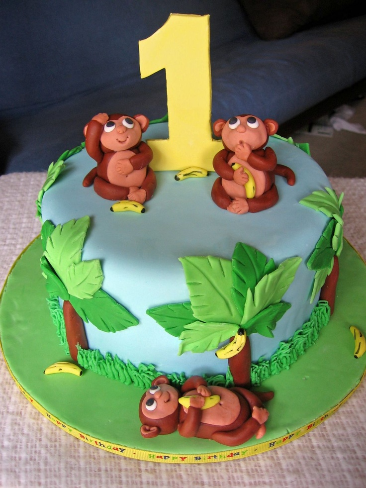 Monkeys! - Covered with marshmallow fondant.  Monkeys and bananas made from MMF- bananas are banana flavored!  Thanks for looking!