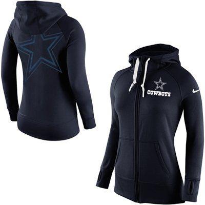 Nike Dallas Cowboys Womens Navy Blue Warpspeed All Time Full-Zip Performance Hoodie--- medium