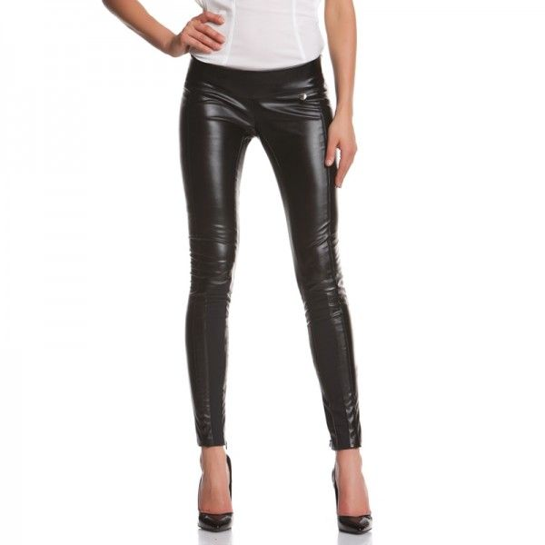 VIPER PANTS Tight trousers with cuts and contrast at the bottom, invisible zip inside the leg. http://shop.mangano.com/en/pants/16799-pantalone-viper-ecopelle-nero.html
