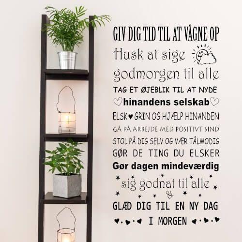 En wallsticker med en sød huske regel til hele familien