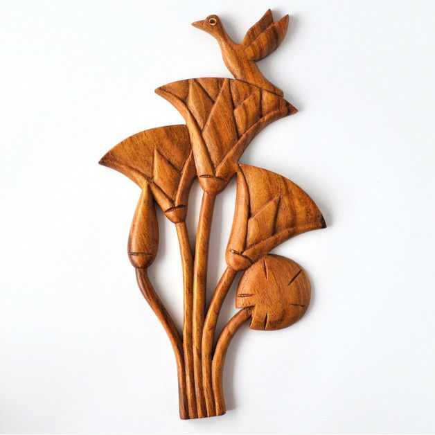 Wall Decor - Lotus Flower Wall Decoration, Wood Carving - a unique product by Omar-Handmade on DaWanda