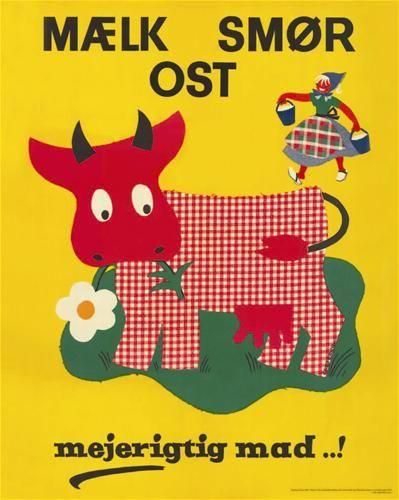 Danish illustration: milk, butter, cheese