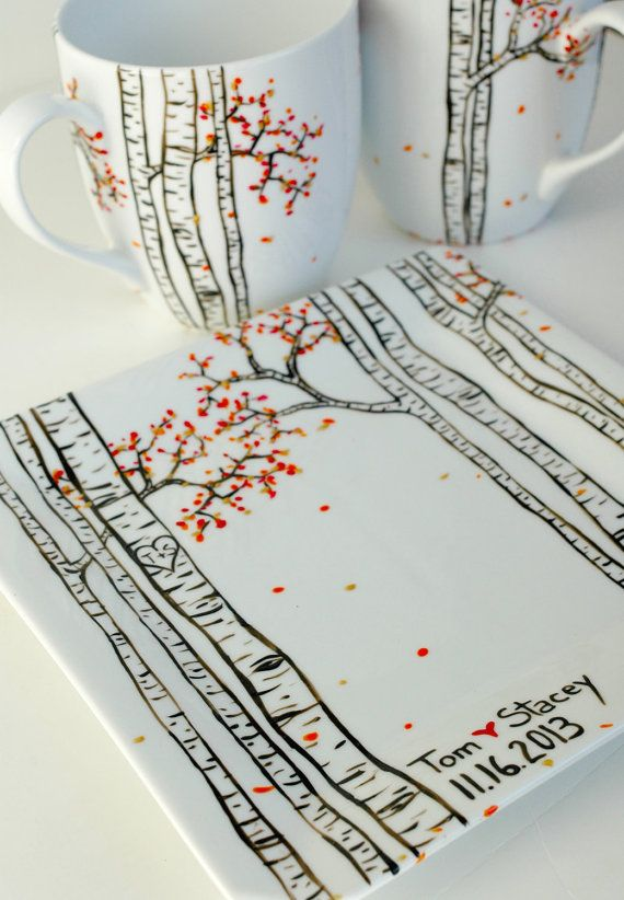 Birch Tree Forest - 3 Piece Personalized Anniversary Collection - Hand Painted Large Mugs and Sharing Plate