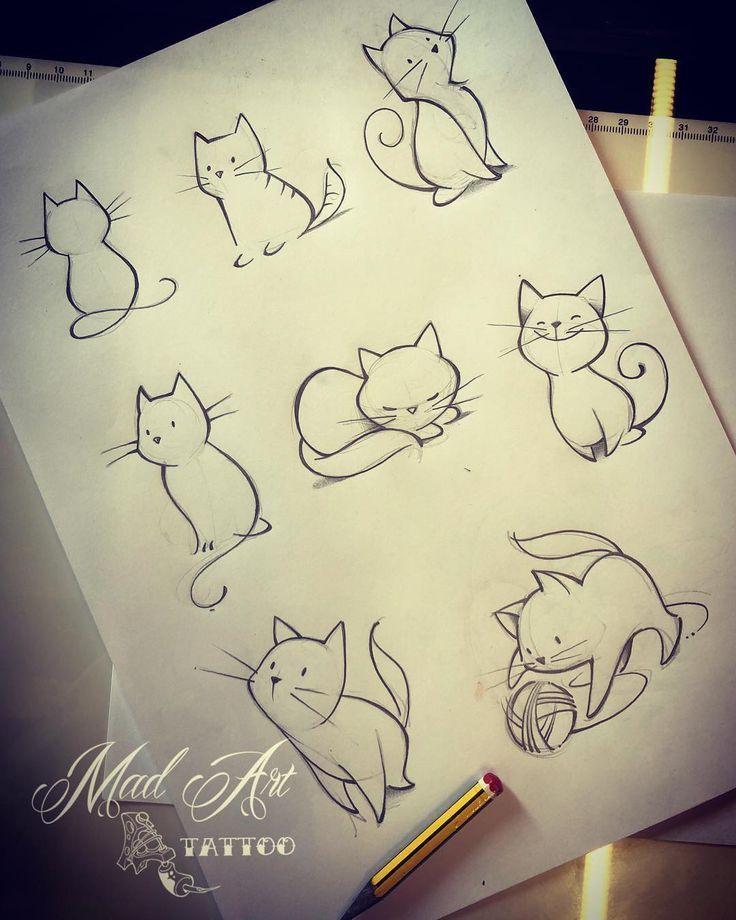 MAD ART TATTOO auf Instagram: Cats #cattattoo #catsketch #lovecat #drawing #dr   – Katzen