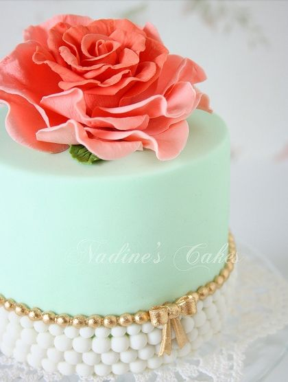 Elegant rose and pearl cake for tea party or ladies luncheon.