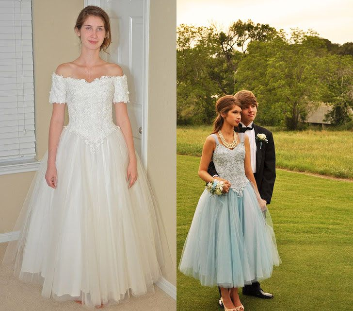 I LOVE this wedding dress to blue formal dress refashion!!! 55 Intelligent & Fun Ways To Refashion Prom, Wedding & Formal Dresses - Paris Ciel - EN