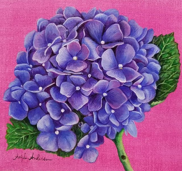 Hydrangea Acrylic Painting Tutorial By Angela Anderson Exclusive Bonus Video For Patreo Acrylic Painting Flowers Painting Flowers Tutorial Hydrangea Painting