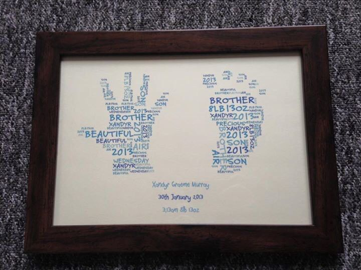 Personalised hand and foot print design. Perfect for a birthday, new baby, christening or keepsake. Find us on Facebook :-)