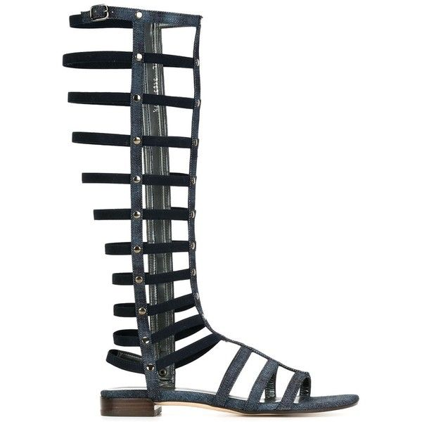 Stuart Weitzman Gladiator Denim Sandals (348,715 KRW) ❤ liked on Polyvore featuring shoes, sandals, blue, stuart weitzman, blue sandals, denim sandals, stuart weitzman shoes and gladiator sandals