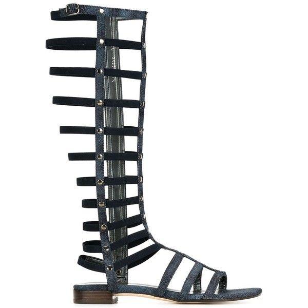 Stuart Weitzman Gladiator Denim Sandals (348,715 KRW) ❤ liked on Polyvore featuring shoes, sandals, blue, stuart weitzman, blue sandals, denim sandals, stuart weitzman shoes and gladiator sandals