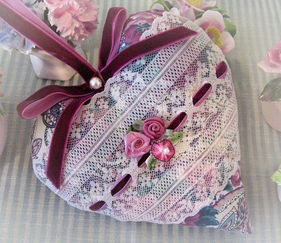 Heart Door Hanger Pillow 6 inch Violet and Green by CharlotteStyle, $22.00