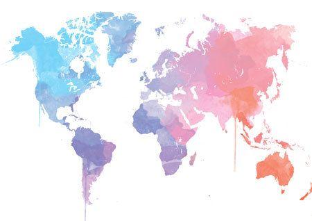 Watercolor Worldmap in beautiful colors home by DemHerPrints, $10.00