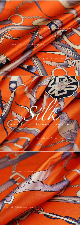 Charmeuse de soie imprimé orange : Tissus Habillement, Déco par fabricasians