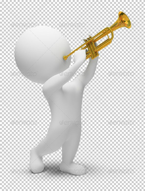 3d small people - trumpet by AnatolyM 3d people plays with trumpet. 3d image. Transparent high resolution PSD with shadows. Alpha channel.