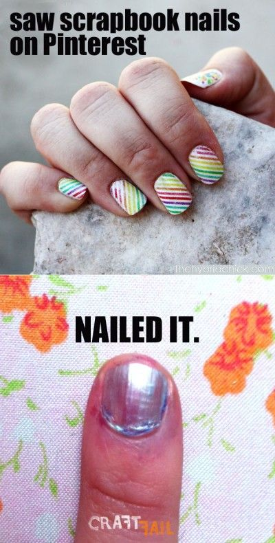 "Saw scrapbook paper nails on Pinterest... nailed it! (we will never get sick of ""nailed it"" jokes for nailpolish fails... will we?)"