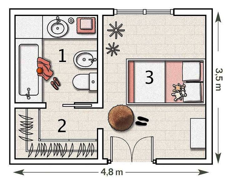 This could work for a studio with a murphy between 2 wardrobes and a kitchen on place of the walk-in