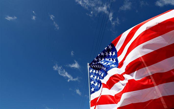 Download wallpapers American flag, 4k, USA flag, blue sky, flag of America, flagpole, flag of USA, US flag