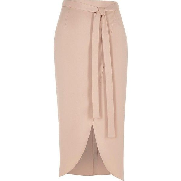 River Island Light pink satin wrap midi skirt (£52) ❤ liked on Polyvore featuring skirts, midi skirts, pink, women, calf length skirts, asymmetrical hem skirt, satin skirts, tall skirts and river island