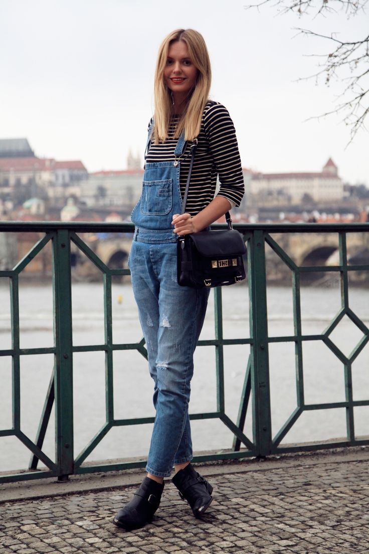 denim overalls with striped top