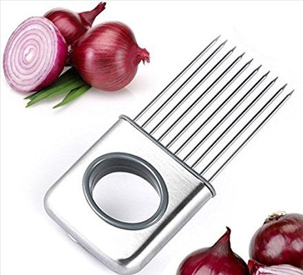 Yijia Soporte de cebolla verduras Patatas Cortador Gadget Tenedor de acero inoxidable Rebanador Helper ayuda de herramienta de cocina gadget corte Chopper