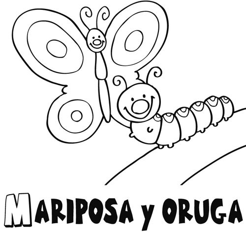 mariposa_y_oruga_1_g.jpg (500×480)   La oruga hambrienta / The ...